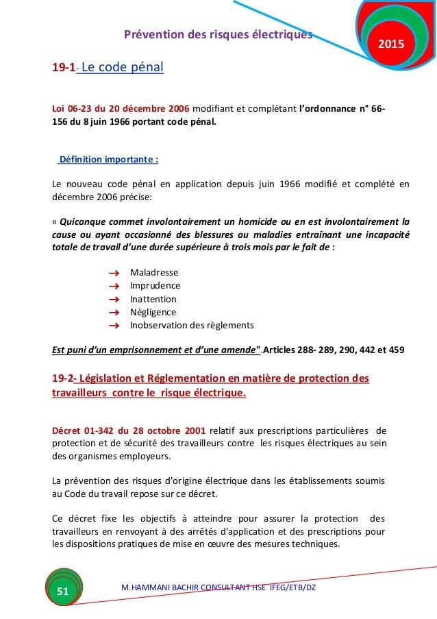 Pr vention des risques lectriques 2015 hammani - Coups et blessures volontaires code penal ...