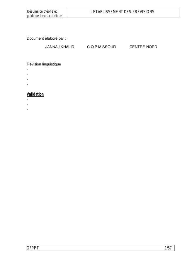 Résumé de théorie et          L'ETABLISSEMENT DES PREVISIONSguide de travaux pratiqueDocument élaboré par :             JA...