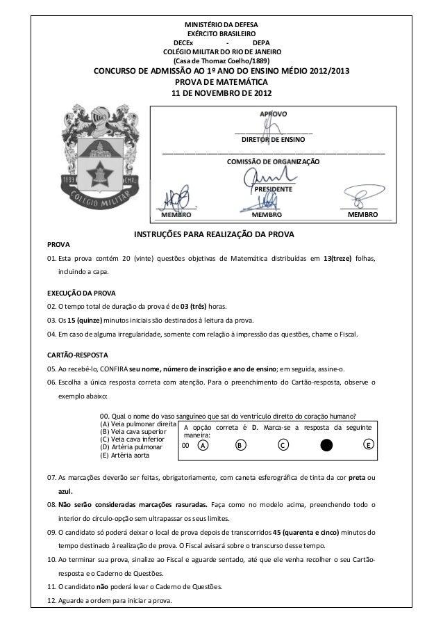 MINISTÉRIO DA DEFESA EXÉRCITO BRASILEIRO DECEx - DEPA COLÉGIO MILITAR DO RIO DE JANEIRO (Casa de Thomaz Coelho/1889) CONCU...