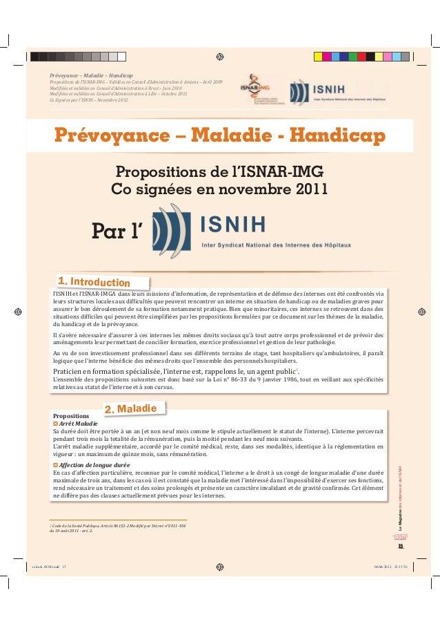 Le Magazine des internes et de l'ISNIH  15  Prévoyance – Maladie – Handicap  Propositions de l'ISNAR-IMG – Validées en Con...