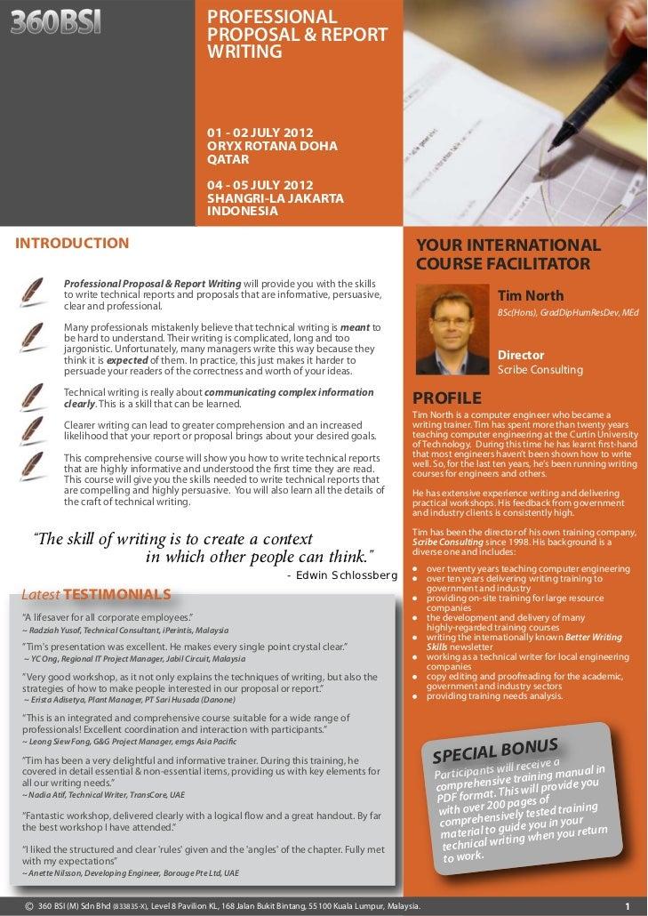 Professional Proposal & Report Writing 01 - 02 July 2012