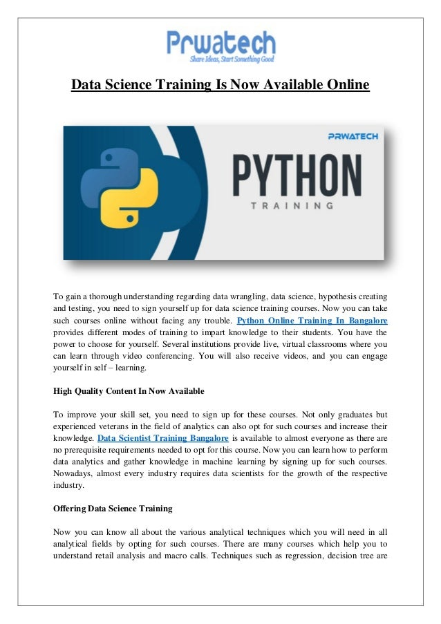 Prwatech.in data scientist certification bangalore & python onlin…