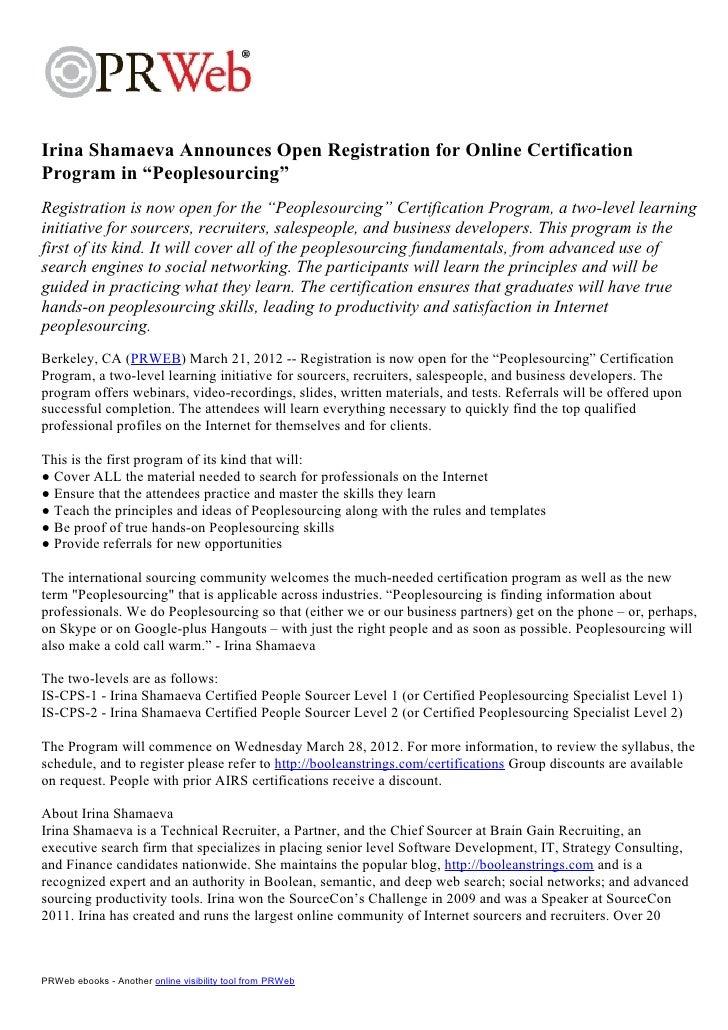"Irina Shamaeva Announces Open Registration for Online CertificationProgram in ""Peoplesourcing""Registration is now open for..."