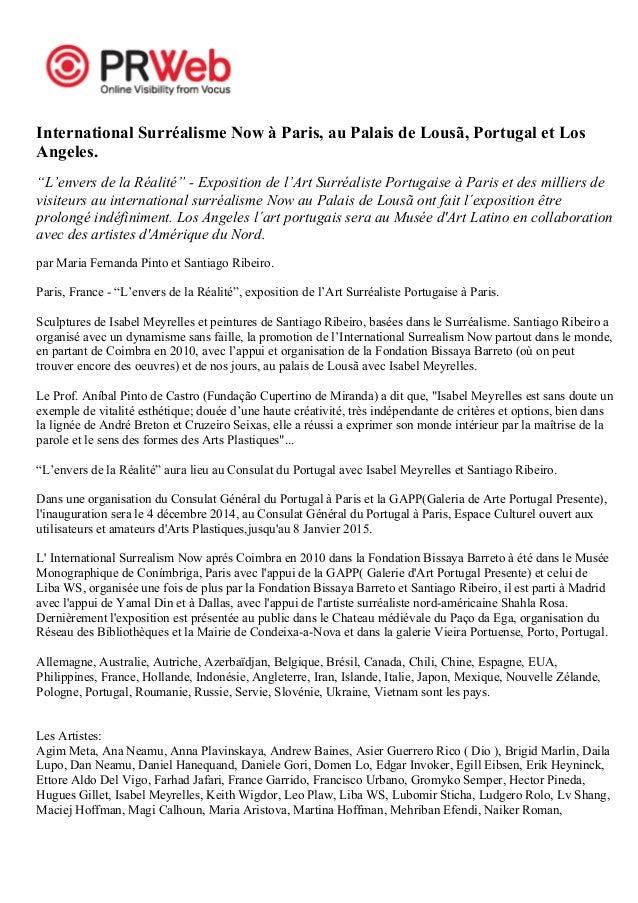 """International Surréalisme Now à Paris, au Palais de Lousã, Portugal et Los  Angeles.  """"L'envers de la Réalité"""" - Expositio..."""