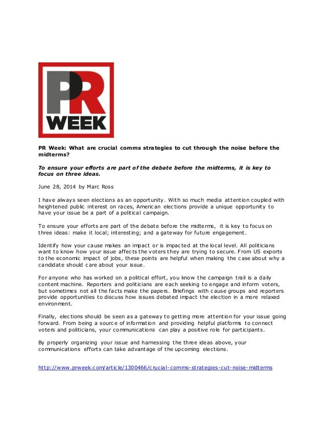 PR Week: What are crucial comms strategies to cut through the noise before the midterms? To ensure your efforts are part o...