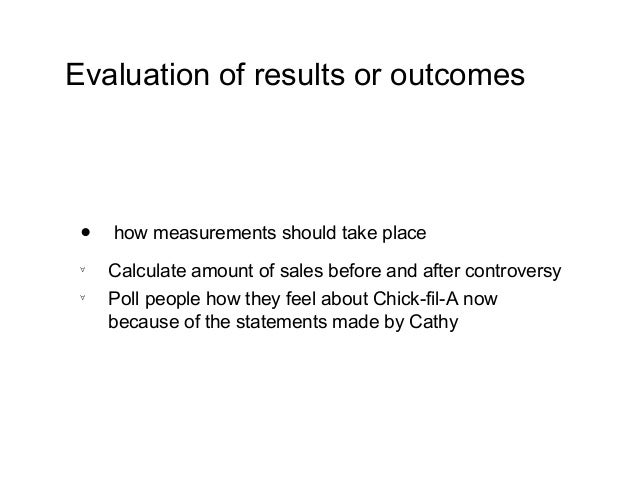 chick fil a evaluation essay Free essay: business description chick-fil-a is one of the most successful fast food restaurant establishments in the country with over 1,300 locations in.