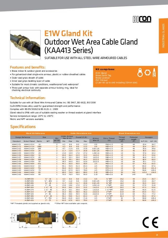 Prysmian Bicc Bicon Cable Glands Catalogue