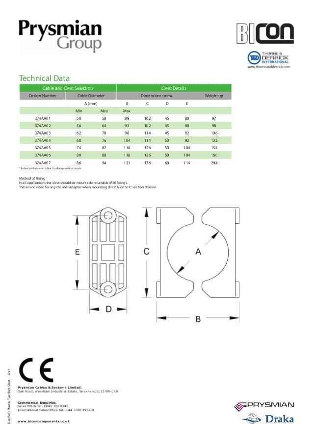Prysmian BICON 374 Plastic Two Bolt Cable Cleats - Spec Sheet