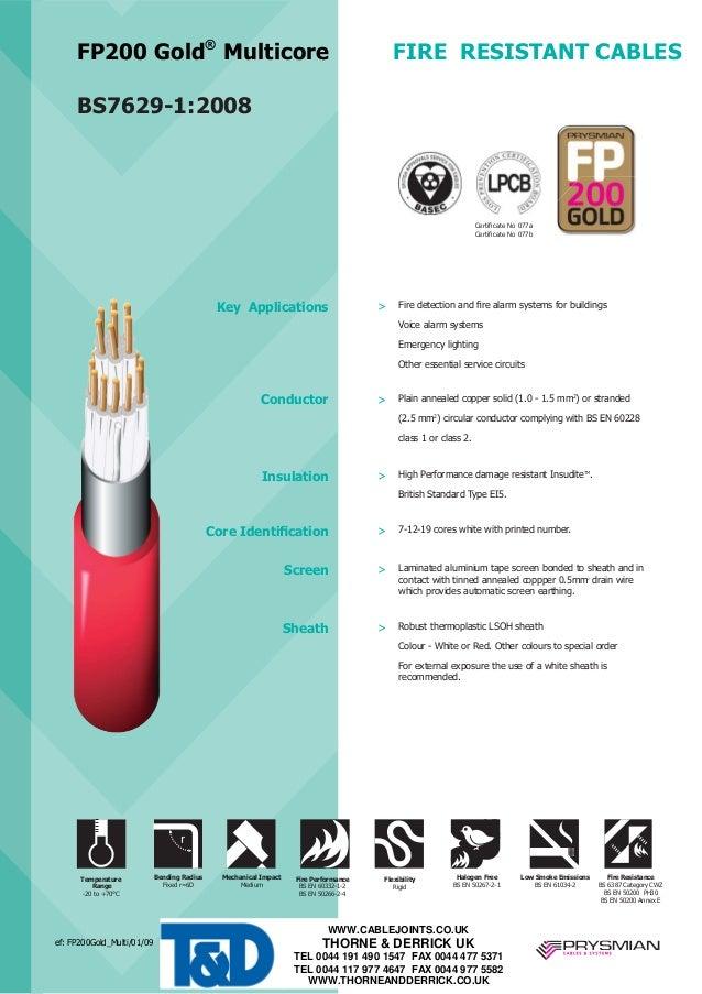 Prysmian FP200 Gold Multicore Fire Resistant Cables