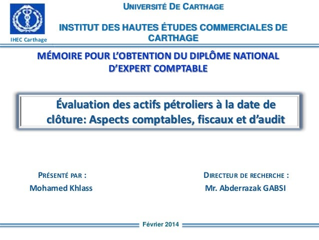 UNIVERSITÉ DE CARTHAGE  IHEC Carthage  INSTITUT DES HAUTES ÉTUDES COMMERCIALES DE CARTHAGE  MÉMOIRE POUR L'OBTENTION DU DI...