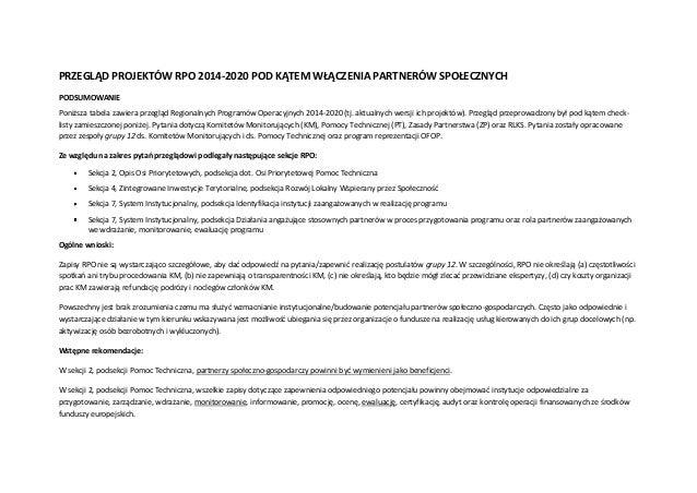 PRZEGLĄD PROJEKTÓW RPO 2014-2020 POD KĄTEM WŁĄCZENIA PARTNERÓW SPOŁECZNYCH PODSUMOWANIE Poniższa tabela zawiera przegląd R...