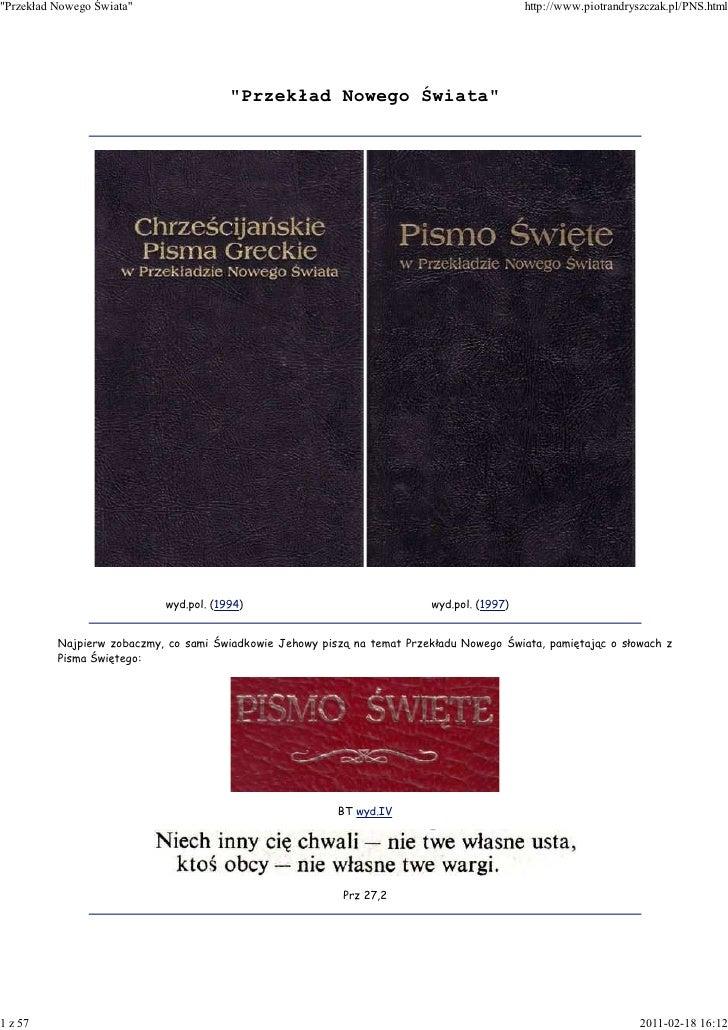 """""""Przekład Nowego Świata""""                                                                     http://www.piotrandryszczak.p..."""