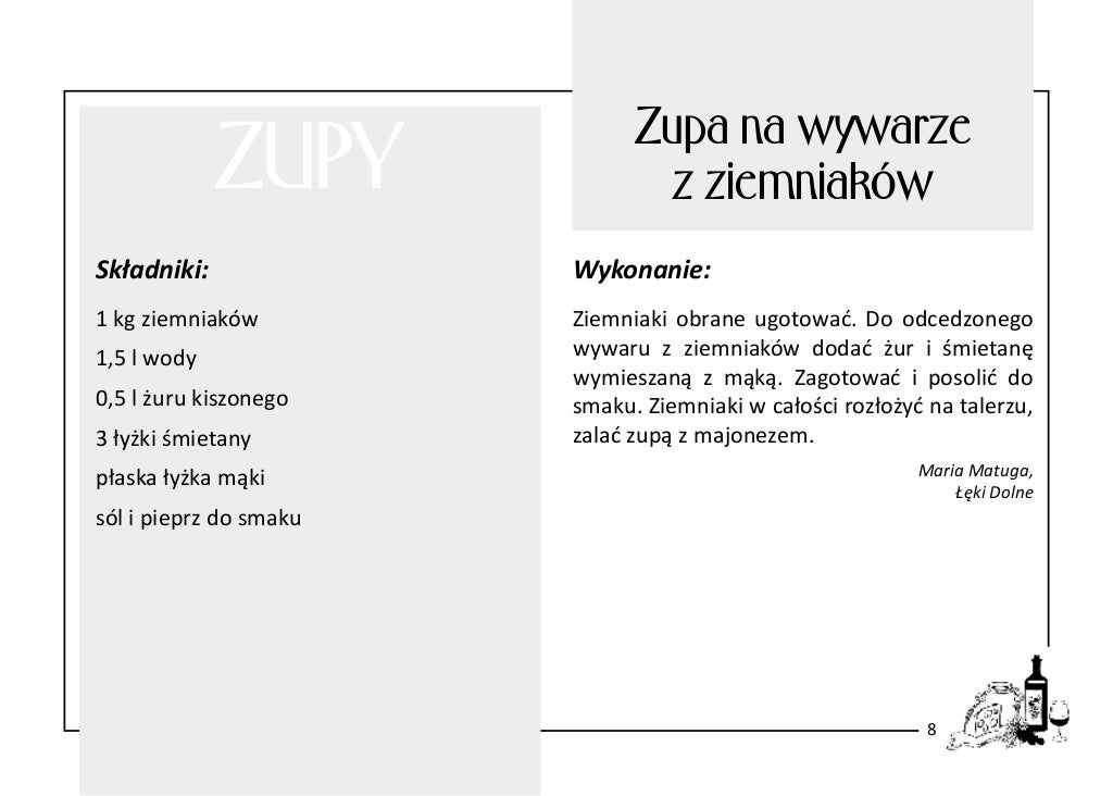 ZUPY  Zupa na wywarze z ziemniaków  Składniki:  Wykonanie:  1 kg ziemniaków  Ziemniaki obrane ugotować. Do odcedzonego wyw...