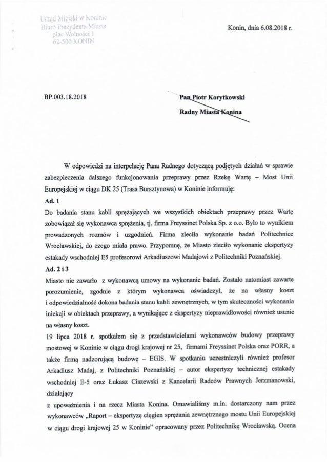Odpowiedź Józefa nowickiego na interpelację Piotra Korytkowskiego w sprawie przeprawy