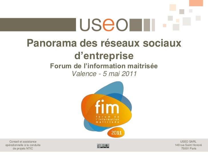 Panorama des réseaux sociauxd'entrepriseForum de l'information maitrisée<br />Valence - 5 mai 2011<br />