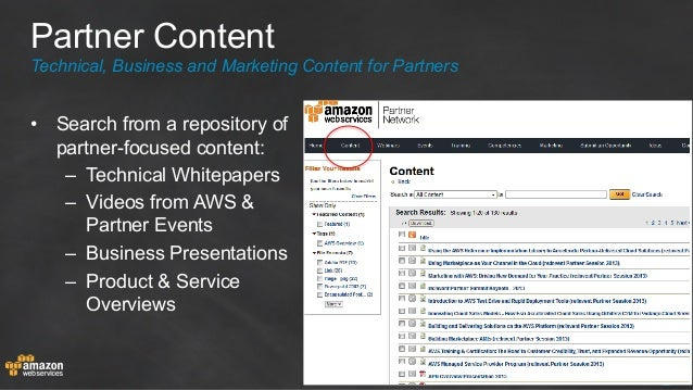 • Search from a repository of partner-focused content: – Technical Whitepapers – Videos from AWS & Partner Events – Bu...