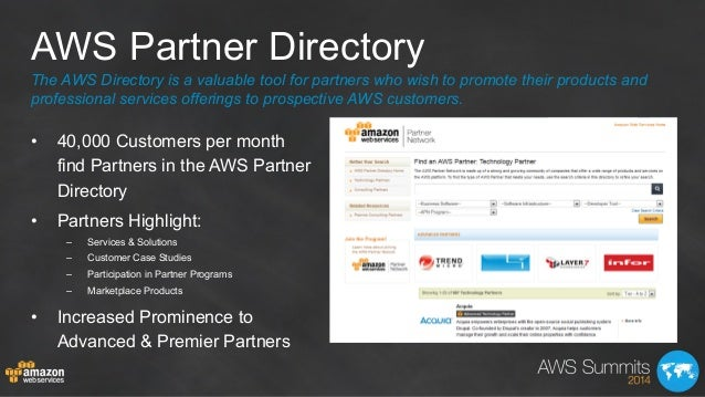 AWS Partner Directory The AWS Directory is a valuable tool for partners who wish to promote their products and professiona...