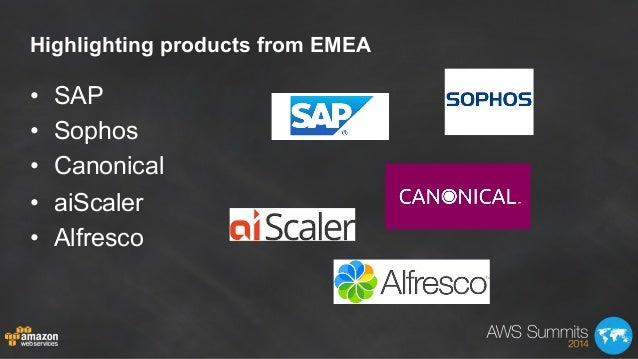 Highlighting products from EMEA • SAP • Sophos • Canonical • aiScaler • Alfresco