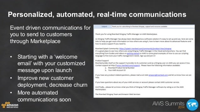 Personalized, automated, real-time communications Event driven communications for you to send to customers through Marketp...