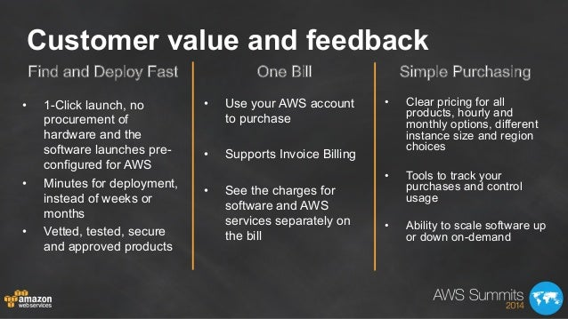 Customer value and feedback • 1-Click launch, no procurement of hardware and the software launches pre- configured for AW...