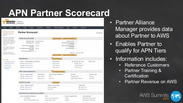 APN Partner Scorecard • Partner Alliance Manager provides data about Partner to AWS • Enables Partner to qualify for APN...