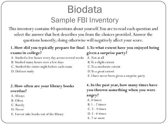 sample bio data form