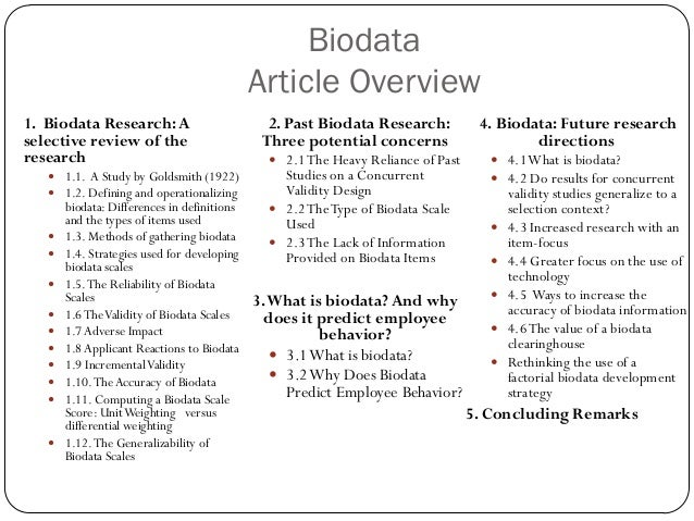 The use of biodata for employee selection: Past research and future implications Slide 2
