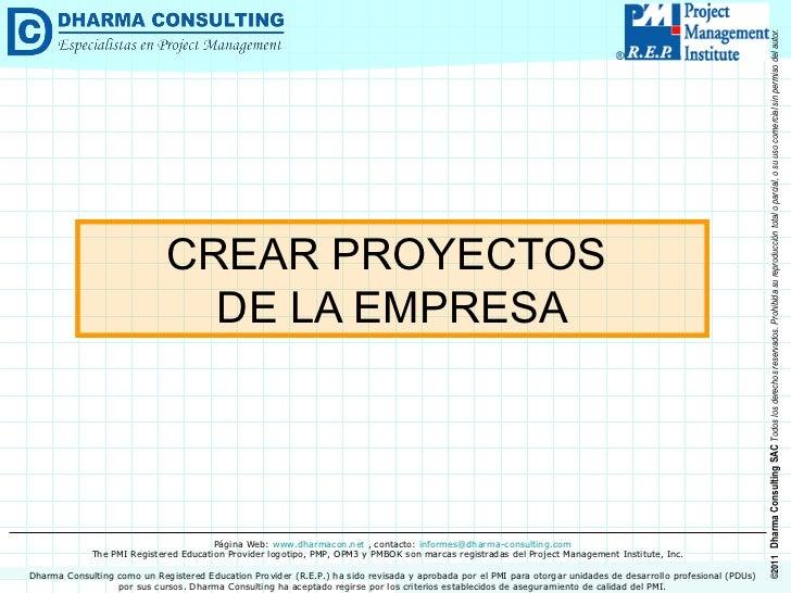 CREAR PROYECTOS  DE LA EMPRESA