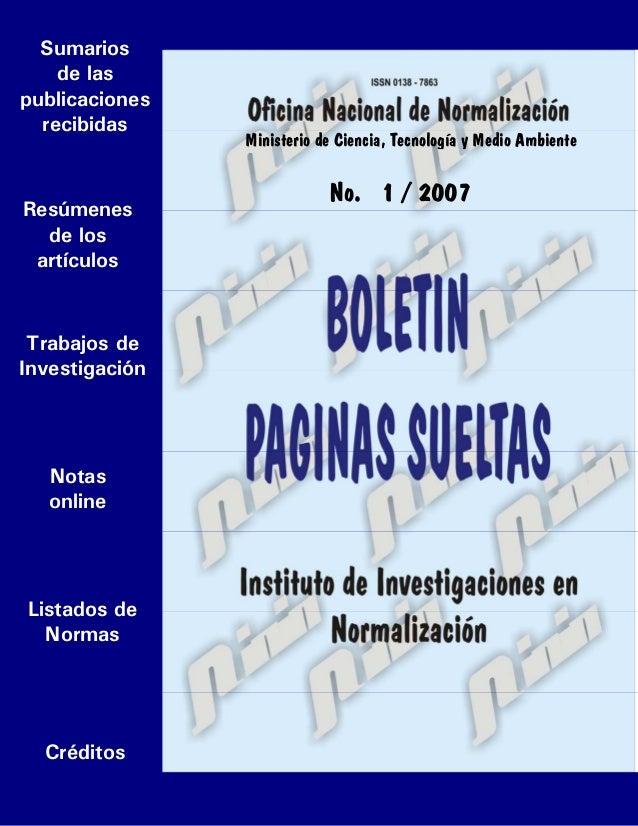 Boletín Páginas Sueltas, enero, 2007. 0Ir a portada Sumarios de las publicaciones recibidas Resúmenes de los artículos Not...