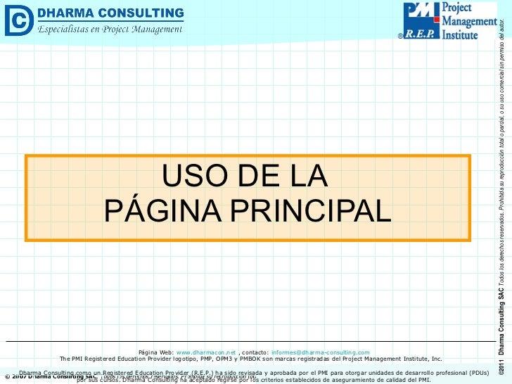 USO DE LA  PÁGINA PRINCIPAL