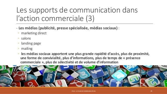 Les supports de communication dans l'action commerciale (3) - Les médias (publicité, presse spécialisée, médias sociaux) :...