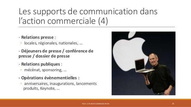Les supports de communication dans l'action commerciale (4) - Relations presse : ◦ locales, régionales, nationales, … - Dé...