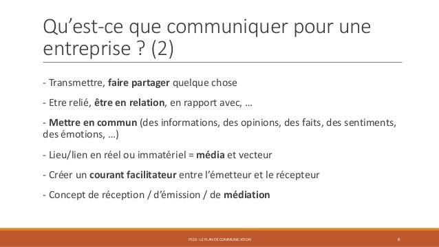 Qu'est-ce que communiquer pour une entreprise ? (2) - Transmettre, faire partager quelque chose - Etre relié, être en rela...