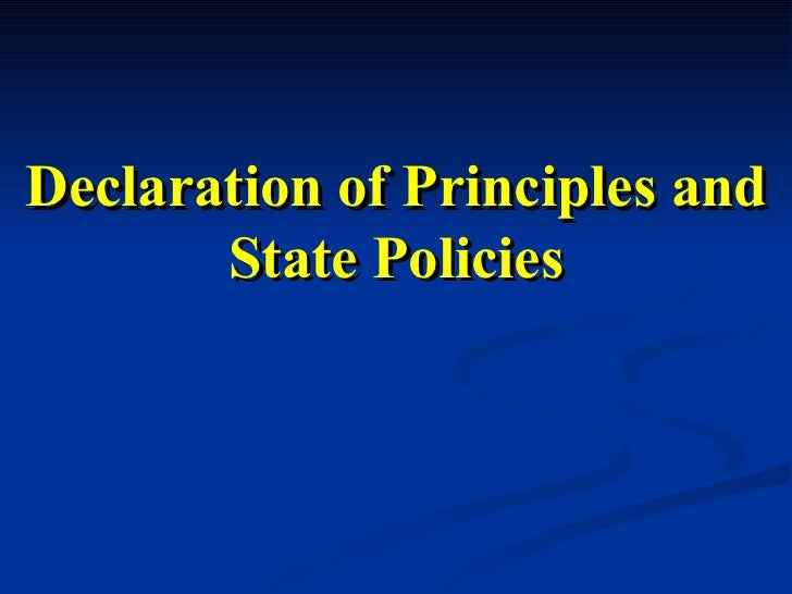 Declaration of Principles and State Policies