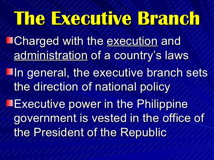 Philippine government the executive branch - Define executive office of the president ...