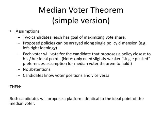 median voter theorem essay Papers and essays by annamaria prati menu skip to content home about best books list papers translations is trump pulling the gop right a median voter theorem discussion aprati / august 5, 2015 i thought it would be fun to apply a little median voter theorem.