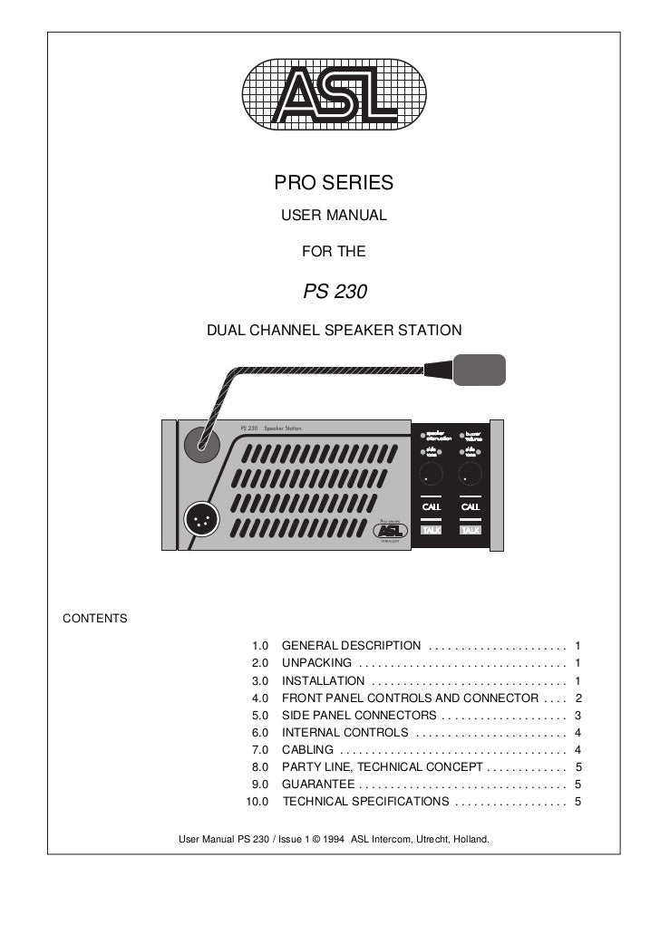 PRO SERIES                                 USER MANUAL                                      FOR THE                       ...