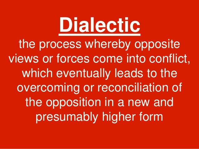 dialectic of thesis antithesis and synthesis Within the history of hegelian scholarship, one central concern is clarifying the nature of hegel's dialectical method the early expositors of hegel's philosophy 1 posited that the unfolding of the dialectical method followed the simple process of thesis, antithesis, and synthesis even though commentators, such as.