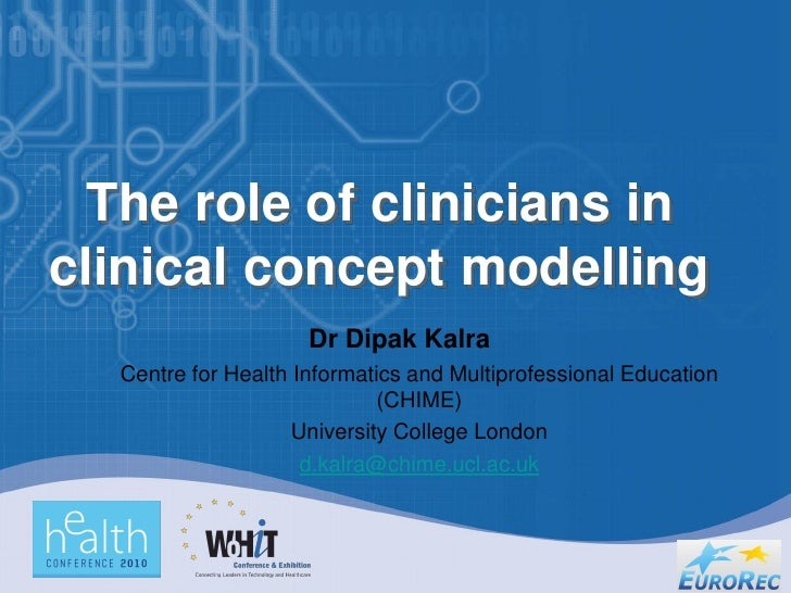 The role of clinicians in clinical concept modelling                      Dr Dipak Kalra   Centre for Health Informatics a...