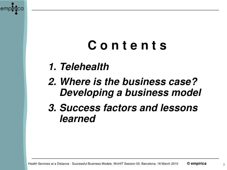 telehealth case November 2010 telehealth in community clinics: three case studies in implementation prepared for california he a lt h care fo u n d at i o n by christine duclos, phd, mph.