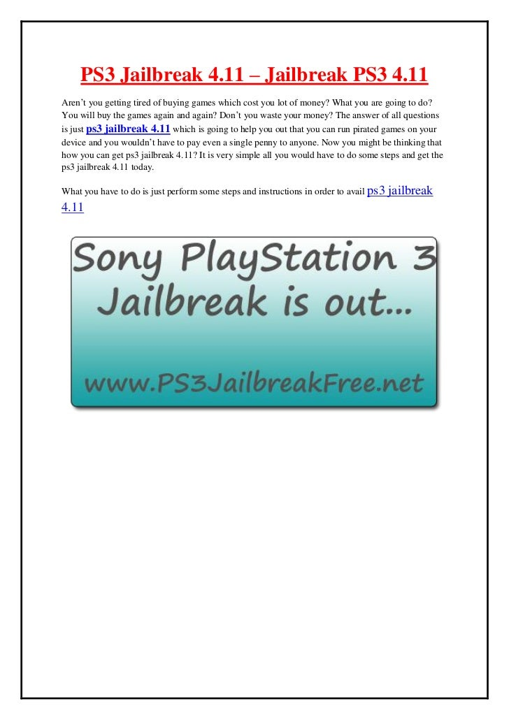 ps3 jailbreak 4.11