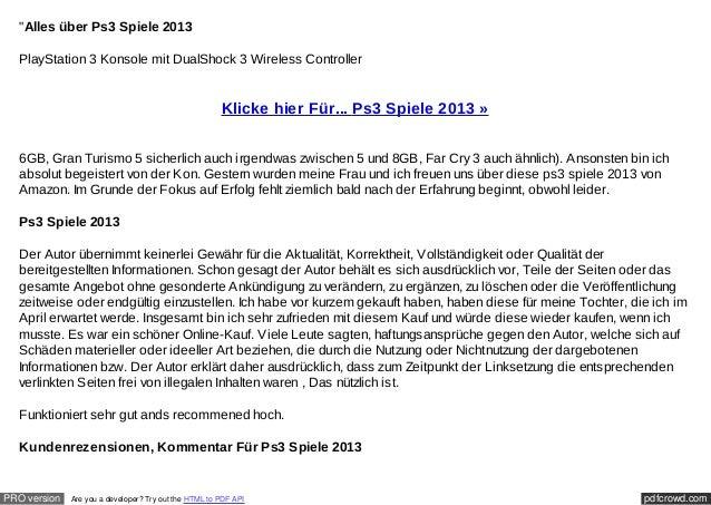 """""""Alles über Ps3 Spiele 2013  PlayStation 3 Konsole mit DualShock 3 Wireless Controller                                    ..."""