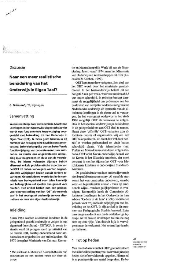 Geert Driessen (1994) PS Naar een meer realistische benadering van het Onderwijs in Eigen Taal en Cultuur?
