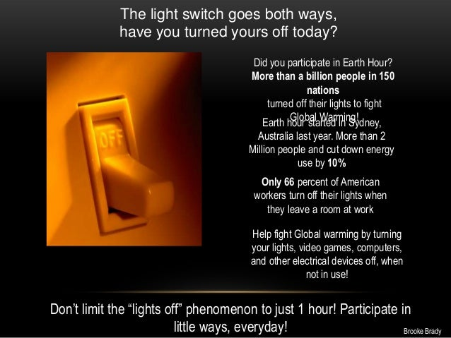 The light switch goes both ways,have you turned yours off today?Did you participate in Earth Hour?More than a billion peop...