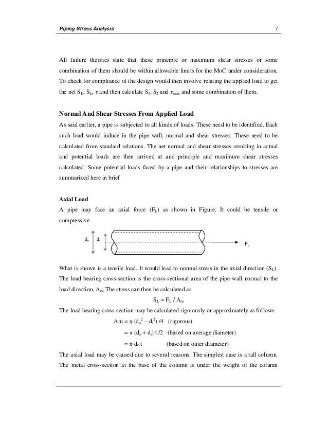 ad759199 stress analysis manual Stress analysis of piping posted by ankit chugh on 10:31 am the analysis of piping under pressure, weight and thennal expansion is complex this complexity can be understood by knovledge of.