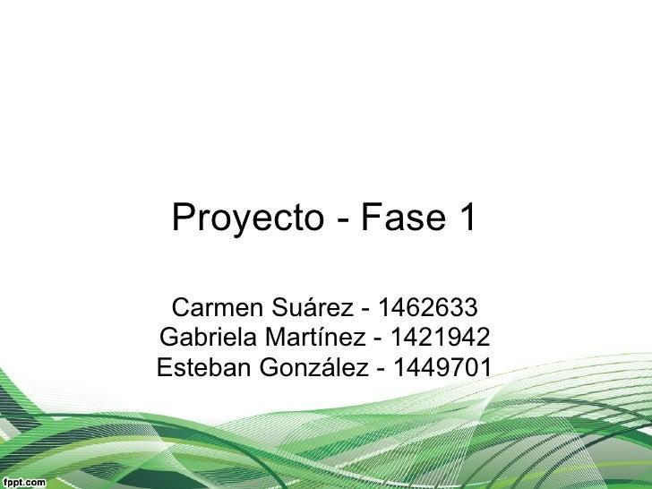 Proyecto - Fase 1 Carmen Suárez - 1462633Gabriela Martínez - 1421942Esteban González - 1449701