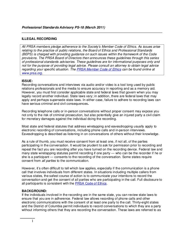 Professional Standards Advisory PS-18 (March 2011)ILLEGAL RECORDINGAll PRSA members pledge adherence to the Societys Membe...