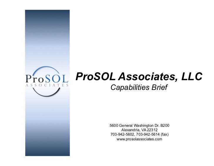 ProSOL Associates, LLC                                          Capabilities Brief                                        ...