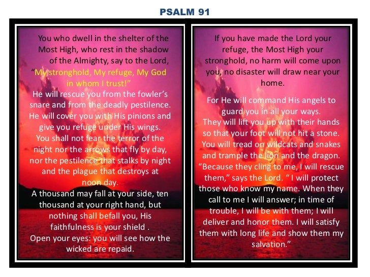 PSALM 91   You who dwell in the shelter of the        If you have made the Lord your  Most High, who rest in the shadow   ...