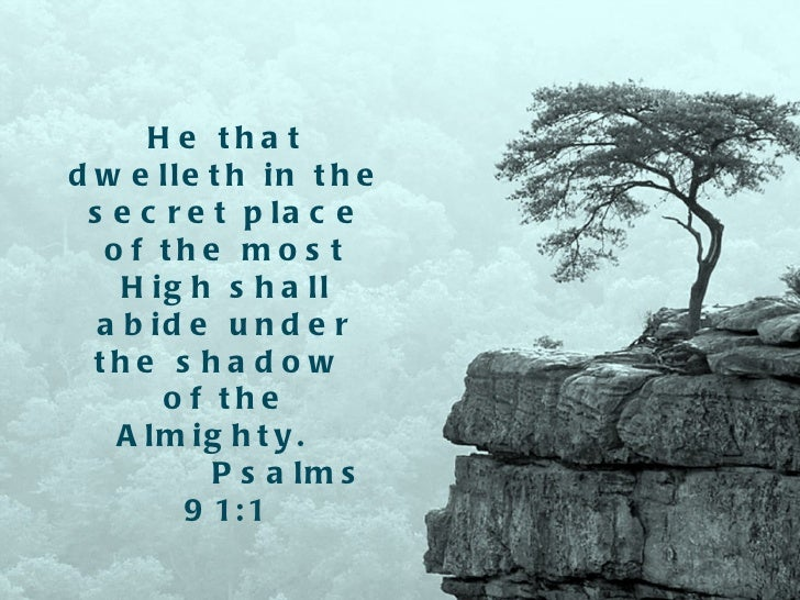 He that dwelleth in the secret place of the most High shall abide under the shadow  of the Almighty.  Psalms 91:1